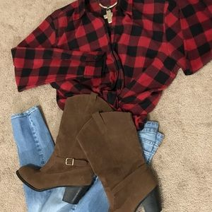 Faux brown boots